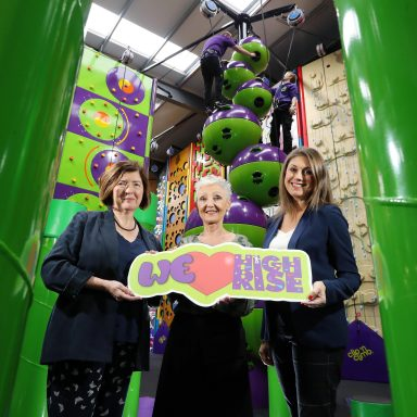 Press Eye - Belfast - Northern Ireland - 19th November 2019 -   LISBURN SOCIAL ENTERPRISE INVESTS IN BRINGING FUN TO NEW HEIGHTS AT HIGH RISE   Lisburn-based Social Enterprise Employers For Childcare is delighted to today (Tuesday 19 November) officially launch its £2.5 million indoor adventure centre High Rise at Altona Road, Lisburn. High Rise incorporates a stunning Clip Ôn Climb arena Ð the biggest in Ireland - along with a soft play area, Sensory Room and Quiet Room and a number of party and corporate rooms.    Employers For ChildcareÕs Chief Executive, Marie Marin, centre, is pictured with local television and media personality Sarah Travers and Sue Gray, Permanent Secretary at the Department of Finance.  Photo by Kelvin Boyes / Press Eye.